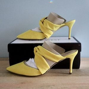 Nine West Yellow Knotted Mules Heels 9.5 M MIPO